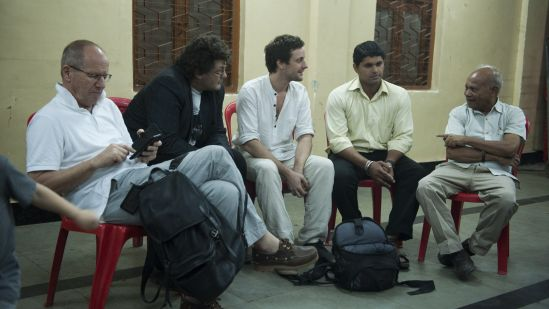 From the Left: Pierre Frey (author of Learning from Vernacular), Vincent Kaufmann (Director of LASUR), both professors at the Swiss Polytechnic Institute of Lausanne (EPFL). From the right: Bhau Korde (social activist in Dharavi), Himanshu Keny (resident of Koliwada in Dharavi) and Matias Echanove (URBZ/Urbanology).