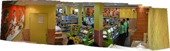 Inside the supermarket. Ground floor starts functioning while construction is ongoing on the upper floors.