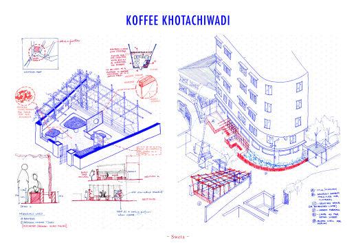 Extract from the workshop's report. The drawing shows a proposition for enhancing an open space in Khotachiwadi.