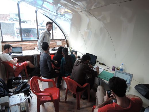 The office in use. It withstood a strong monsoon!