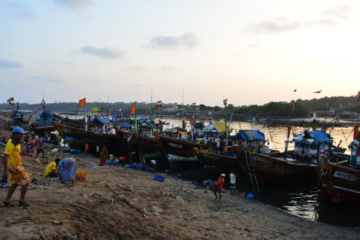 Active fishing harbour at Versova Koliwada