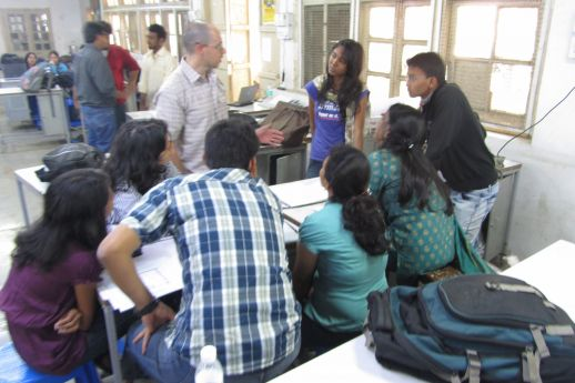 Marco Ferrario of Micro Homes Solutions (New Delhi) with some of the students.