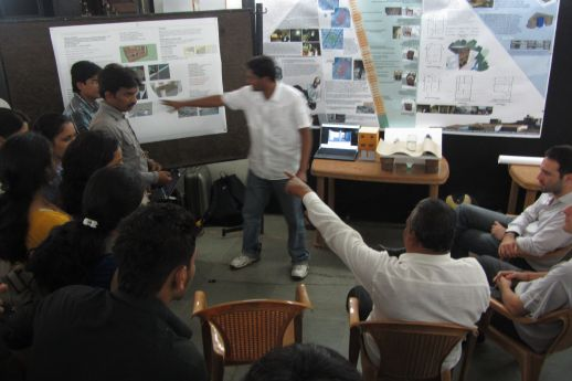 JURY: Contractor Syyed Mohammed Gous (Chand Bhai) responding to the students' proposals.