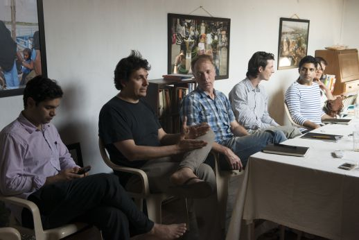 Discussion at the Institute of Urbanology in Aldona, Goa. From left to right: Anush Kapadia (lecturer in social science at Harvard), Michele Bonino (Prof at Politecnico do Torino & principal architect at Studio Marc), Sytse de Maat and Tobias Baitsch (PhD students at EPFL), and Ajay Gandhi (Post-Doc anthropologist at Max Planck Institute).