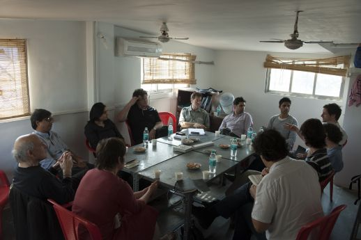 First day session at the URBZ office in New Transit Camp, Dharavi, Mumbai.