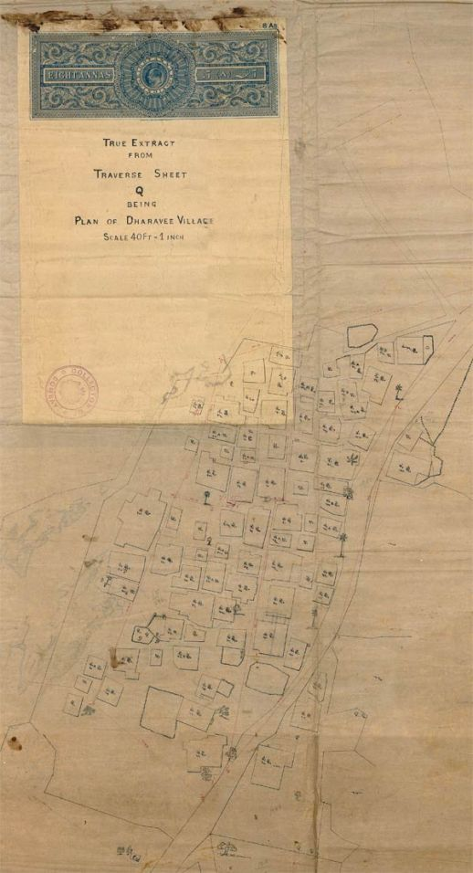 Undated map of Dharavi Koliwada, the fisher folk village that gave Dharavi its name. The map is stamped by the Collector of Mumbai, a colonial department in charge of surveying the city's land.