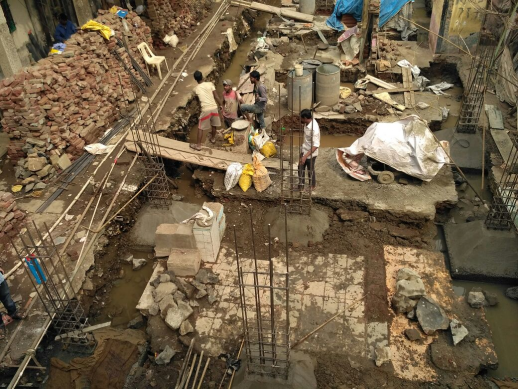 Construction of columns and their respective foundations being laid on site