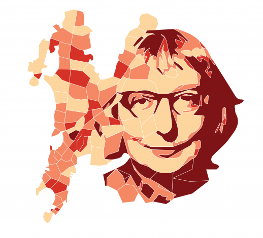 Urbanist Jane Jacobs, and a template for a density-diversity map of Mumbai. Illustration by Hugh Ebdy