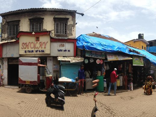 Old shops and restaurant in Dharavi Koliwada