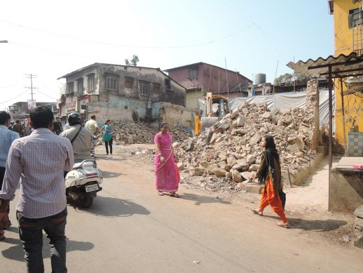 Demolition of shops in Dharavi Koliwada for construction of a commercial unit