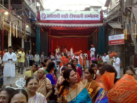 Residents of Khotachiwadi celebrate the Diwali in front of the 150 years old Khanderao chawl. The Diwali Sammelan festival was started over 75 years ago by Mangesh Rane ji who is the oldest resident of Khotachiwadi.