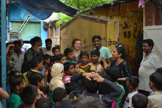 Perrine Cariou, Larson A. Vaiti and Samidha Patil organizing a treasure hunt with the kids at Bareilly Compound.